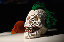 THE ART OF THE BRICK: DC SUPER HEROES - Artist Nathan Sawaya returns to London with the world's largest LEGO exhibition, inspired by Batman, Superman, and Wonder Woman. The exhibition opens, in a purpose-built marquee in Doon Street car park, Upper Ground, on the South Bank. Picture shows: The Joker Skull.