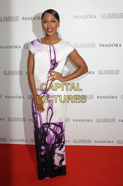 Alexandra Burke.Women Of The Year 2012 - Glamour Awards, Berkeley Square, London, England..29th May 2012.full length white dress purple print hand on hip.CAP/PL.©Phil Loftus/Capital Pictures.