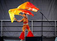 Chinese Girl Ribbon Dance Performer, Chinese New Year, Chinatown, Seattle, WA, USA.