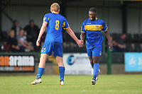 Ayo Olukoga score Romfords second goal and celebrates   during Romford vs Coggeshall Town, Bostik League Division 1 North Football at Rookery Hill on 13th October 2018