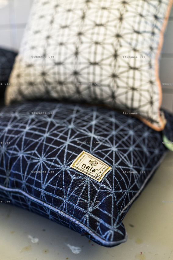 Handprinted pillowcases on display in Nala Designs in Bangsar, Kuala Lumpur, Malaysia, on 18 August 2015. Nala Designs, by founder and designer Lisette Scheers, is inspired by Malaysia's melting pot of Chinese, Malay and Indian cultures. Photo by Suzanne Lee for Monocle
