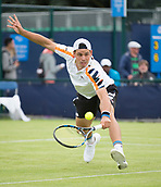 June 10th 2017,  Nottingham, England; ATP Aegon Nottingham Open Tennis Tournament day 1; Alex Bolt from Australia gets to a backhand volley in his match against Edward Corrie of Great Britain