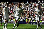 Real Madrid´s Cristiano Ronaldo and Karim Benzema celebrates a goal during 2014-15 La Liga match between Real Madrid and Granada at Santiago Bernabeu stadium in Madrid, Spain. April 05, 2015. (ALTERPHOTOS/Luis Fernandez)