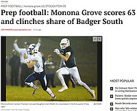 Monona Grove quarterback, Alec Ogden, escapes up field, as Monona Grove takes on Stoughton in the Badger South Conference football championship on Friday, 10/6/17, at Stoughton High School | Wisconsin State Journal article front page Sports 10/7/17 and online at http://host.madison.com/wsj/sports/high-school/football/prep-football-monona-grove-scores-and-clinches-share-of-badger/article_45986989-39a2-5bb2-8356-09c5c6c6f82c.html