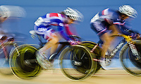 19 FEB 2012 - LONDON, GBR - Great Britain's Laura Trott (GBR) (second from right in blue and red) competing in the Women's Omnium Scratch Race during the UCI Track Cycling World Cup, and London Prepares test event for the 2012 Olympic Games, at the Olympic Park Velodrome in Stratford, London, Great Britain .(PHOTO (C) 2012 NIGEL FARROW)