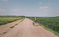 Martijn Budding (NED/Roompot Nederlandse loterij) is forced to drop out of a leading group after a flat over a gravel sector<br /> <br /> Antwerp Port Epic 2018 (formerly &quot;Schaal Sels&quot;)<br /> One Day Race:  Antwerp &gt; Antwerp (207 km; of which 32km are cobbles &amp; 30km is gravel/off-road!)