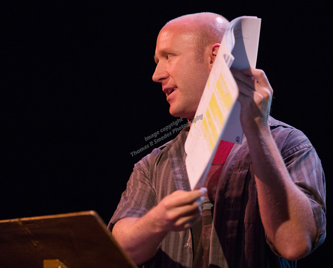 """Greg Klino shows a script to the audience during his talk """"How to learn all those lines""""  during the Take 5 fundraiser at the Bruka Theatre on Saturday night, Jan. 13, 2018."""