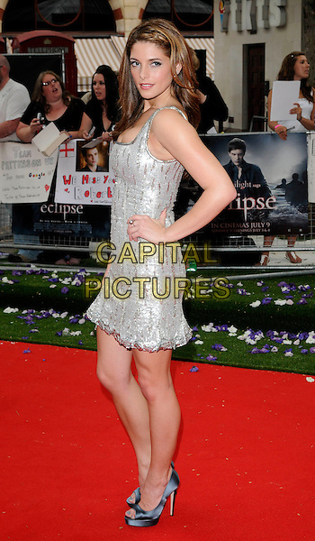 "ASHLEY GREENE.UK Gala Premiere of ""The Twilight Saga: Eclipse"" at the Odeon Leicester Square, London, England, UK..July 1st 2010.full length silver sleeveless dress hand on hip peep toe platform shoes gold sequined sequin side.CAP/CAN.©Can Nguyen/Capital Pictures."