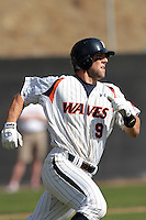 Joe Sever (9) of the Pepperdine Waves runs the bases against the Oklahoma Sooners at Eddy D. Field Stadium on February 18, 2012 in Malibu,California. Pepperdine defeated Oklahoma 10-0.(Larry Goren/Four Seam Images)