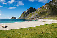 Sunny summer day at Haukland beach, Vestvågøy, Lofoten Islands, Norway