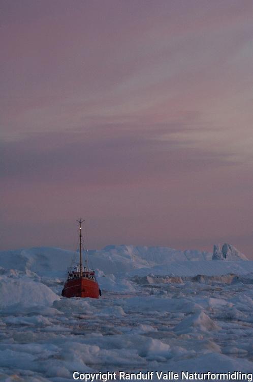 Fiskebåt på vei gjennom drivis ---- Boat in icy waters
