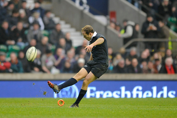 Graeme MacGilchrist of Oxford University takes a conversion kick during the 132nd Varsity Match between Oxford University and Cambridge University at Twickenham Stadium on Thursday 13th December 2013 (Photo by Rob Munro)