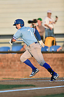 Burlington Royals catcher Nathan Esposito (7) runs to first base during Game Two of the Appalachian League Championship series against the Johnson City Cardinals at TVA Credit Union Ballpark on September 7, 2016 in Johnson City, Tennessee. The Cardinals defeated the Royals 11-6 to win the series 2-0.. (Tony Farlow/Four Seam Images)
