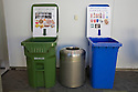 Large signs with visual examples mark compost and recycling bins in an attempt to keep resources out of the landfill. Bins like these were placed throughout the West Coast Green event. West Coast Green is the nation?s largest conference and expo dedicated to green innovation, building, design and technology. The conference featured over 380 exhibitors, 100 presenters, and 14,000 attendees. Location: San Jose Convention Center in Silicon Valley (San Jose, California, USA), September 25-27, 2008