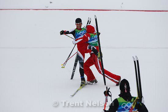 Trent Nelson  |  The Salt Lake Tribune.Team 4x5km Nordic Combined on the cross country track at the Whistler Olympic Park, XXI Olympic Winter Games in Whistler, Tuesday, February 23, 2010. austria's Mario Kreiner and teammates celebrate gold medal, USA silver