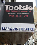 "Theatre Marquee unveiling for ""Tootsie"" starring Santino Fontana, Lilli Cooper, Sarah Stiles, John Behlmann, Andy Grotelueschen, Julie Halston, Michael McGrath, and Reg Rogers at the Marquis Theatre on February 18, 2019 in New York City."