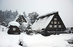 Gasshouzukuri House, a traditional Japanese house with a steep rafter roof in Shirakawa-go, historical village registered as an UNESCO world heritage site.
