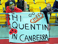 Fans with a banner during the Super Rugby match between the Hurricanes and Chiefs at Westpac Stadium, Wellington, New Zealand on Saturday, 23 April 2016. Photo: Dave Lintott / lintottphoto.co.nz
