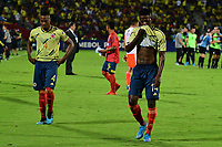 BUCARAMANGA - COLOMBIA, 09-02-2020: Willer Ditta y Anderson Arroyo de Colombia lucen decepcionados después del partido entre Colombia U-23 y Uruguay U-23 por el cuadrangular final como parte del torneo CONMEBOL Preolímpico Colombia 2020 jugado en el estadio Alfonso Lopez en Bucaramanga, Colombia. / Willer Ditta and Anderson Arroyo of Colombia look disappointed after the match between Colombia U-23 and Uruguay U-23 of for the final quadrangular as part of CONMEBOL Pre-Olympic Tournament Colombia 2020 played at Alfonso Lopez stadium in Bucaramanga, Colombia. Photo: VizzorImage / Julian Medina / Cont