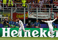 Calcio, finale di Champions League: Real Madrid vs Atletico Madrid. Stadio San Siro, Milano, 28 maggio 2016.<br /> Real Madrid's Sergio Ramos, left, celebrates with his teammate Gareth Bale after scoring during the the Champions League final match between Real Madrid and Atletico Madrid, at Milan's San Siro stadium, 28 May 2016.<br /> UPDATE IMAGES PRESS/Isabella Bonotto