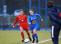 20191221 - WOLUWE: Gent's Mara Van Canneyt (right) is with the ball and Woluwe's Stefanie Suenensin (left) defends during the Belgian Women's National Division 1 match between FC Femina WS Woluwe A and KAA Gent B on 21st December 2019 at State Fallon, Woluwe, Belgium. PHOTO: SPORTPIX.BE | SEVIL OKTEM