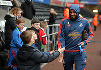 Ashley Williams of Swansea arrives before the Barclays Premier League match between Swansea City and Crystal Palace at the Liberty Stadium, Swansea on February 06 2016