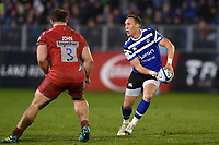 James Wilson of Bath Rugby looks to pass the ball. Gallagher Premiership match, between Bath Rugby and Sale Sharks on December 2, 2018 at the Recreation Ground in Bath, England. Photo by: Patrick Khachfe / Onside Images