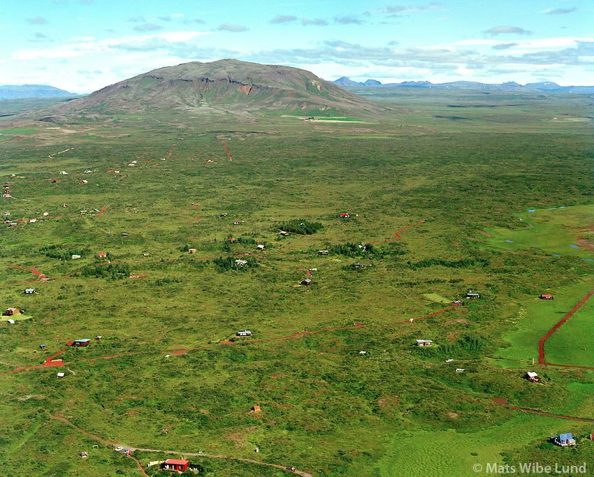 Orlofshúsabyggð i landi Norðurkot, Álftavatnsbyggð, séð til norðausturs, Grímsnes- og Grafningshreppur / Holiday homes in Nordurkot property, viewing northeast. Grimsnes- og Grafningshreppur.