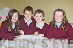 Knocknanes NS pupils who competed in the table quiz at the Glenflesk Scor last Friday night front l-r: Abbie Logan, Stephen Corsini, Darragh Fleming and Ciara Gleeson........