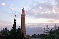 The fluted minaret in Antalya, Turkey
