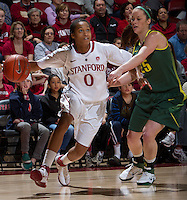 STANFORD, CA - February 26, 2011:  Melanie Murphy drives for a score in Stanford's 99-60 victory over Oregon at Stanford, California on February 26, 2011.