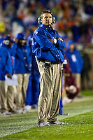 November 29, 2008:    Florida head coach Urban Meyer watches the action during non-conference game between the University of Florida Gators  and the Florida State Seminoles at Doak Campbell Stadium in Tallahassee, Florida.   Florida defeated Florida State 45-15.