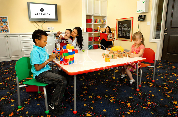 Photography of Charlotte's Berewick community, a planned development located in southwest Charlotte. Image shows residents (model released) in the Berewick Playroom.