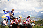 Waiting for the race to arrive during Stage 12 of the 2018 Tour de France running 175.5km from Bourg-Saint-Maurice les Arcs to Alpe D'Huez, France. 19th July 2018. <br /> Picture: ASO/Pauline Ballet | Cyclefile<br /> All photos usage must carry mandatory copyright credit (&copy; Cyclefile | ASO/Pauline Ballet)
