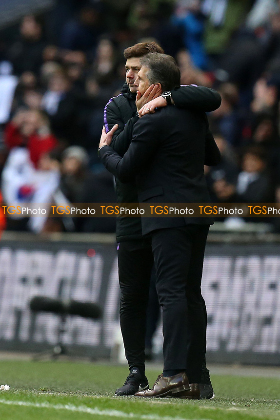 Tottenham Hotspur manager Mauricio Pochettino and Leicester City manager Claude Puel after Tottenham Hotspur vs Leicester City, Premier League Football at Wembley Stadium on 10th February 2019