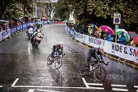 Stefan Küng (SUI/Groupama-FDJ) & Lawson Craddock (USA/EF Education First) forming a breakaway in the local laps<br /> <br /> Elite Men Road Race from Leeds to Harrogate (shortened to 262km)<br /> 2019 UCI Road World Championships Yorkshire (GBR)<br /> <br /> ©kramon