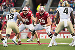 Wisconsin Badgers offensive lineman David Edwards (79) during an NCAA College Big Ten Conference football game against the Purdue Boilermakers Saturday, October 14, 2017, in Madison, Wis. The Badgers won 17-9. (Photo by David Stluka)