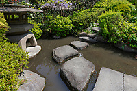 """Yakushi Fountain Garden has been restored to its original Edo Period glory; it is located located just off the Nakasendo Road.  Shimizu Yakushi, who used to reside in this area, is known as one of the Edo landmarks, and was opened as a """"Yakushi-no-sen"""".  In the quiet garden there is a spring, although it is much better known for its tiny pond garden created below a slop with the slope providing a backdrop of undulating terrain. It is officially known as Yakushi no Izumi. It was originally the site of Daizen-ji Temple, founded in the 15th century and later absorbed into neighborhing Sosen-ji."""