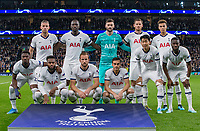 Spurs pre match team photo (back row l-r) Toby Alderweireld, Moussa Sissoko, Goalkeeper Hugo Lloris, Jan Vertonghen & Dele Alli (front row l-r) Serge Aurier, Danny Rose, Harry Kane, Harry Winks, Son Heung-Min & Tanguy NDombele before the UEFA Champions League group match between Tottenham Hotspur and Bayern Munich at Wembley Stadium, London, England on 1 October 2019. Photo by Andy Rowland.