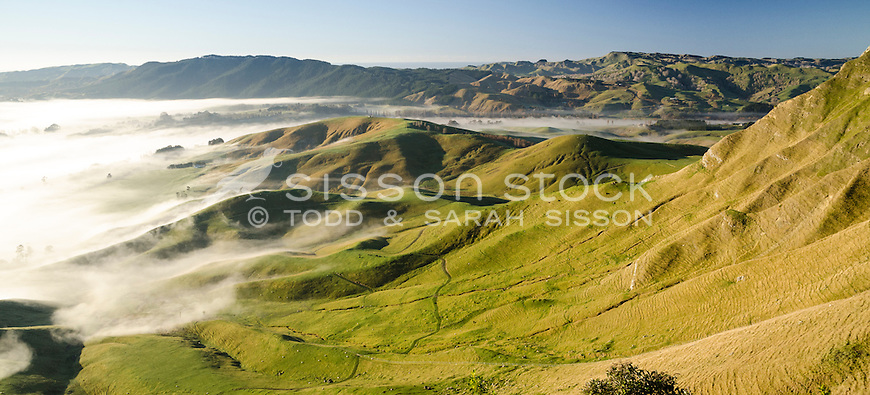 Receding fog on rolling farmland. From Te Mata Peak, Havelock North. Hawkes Bay North Island New Zealand.
