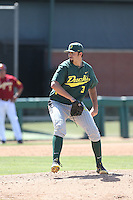 David Peterson (3) of the Oregon Ducks pitches during a game against the Southern California Trojans at Dedeaux Field on April 18, 2015 in Los Angeles, California. Oregon defeated Southern California, 15-4. (Larry Goren/Four Seam Images)