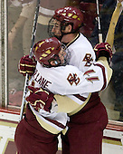 Pat Mullane (BC - 11), Jimmy Hayes (BC - 10) - The Boston College Eagles defeated the Merrimack College Warriors 4-3 on Friday, October 30, 2009, at Conte Forum in Chestnut Hill, Massachusetts.
