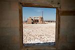 Ruins, doors, windows of a former lake-shore resort (spa) at the southern end of the Salton Sea, Salton Sea, Calif.