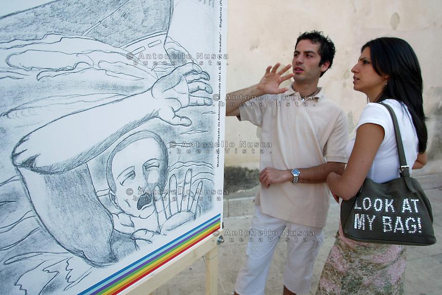 San Giuseppe Iato, luglio 2005, La mostra organizzata in occasione della 48 ore contro la mafia.