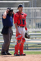 March 18, 2010:  Catcher William Vazquez of the Boston Red Sox organization during Spring Training at Ft.  Myers Training Complex in Fort Myers, FL.  Photo By Mike Janes/Four Seam Images
