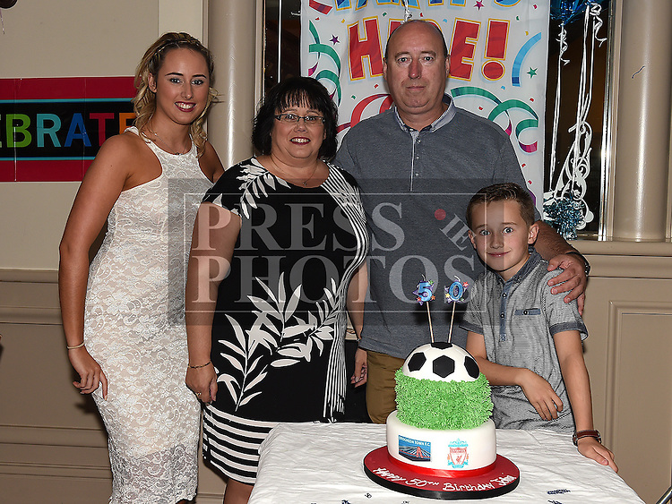 John Walsh celebrating his 50th birthday in the Thatch with his wife Maria daughter Niamh and son Dylan. Photo:Colin Bell/pressphotos.ie