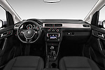 Stock photo of straight dashboard view of 2015 Volkswagen Caddy Maxi Dark & Cool 5 Door Mini Mpv Dashboard