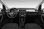 Stock photo of straight dashboard view of 2015 Volkswagen Caddy Maxi Dark & Cool 5 Door Mini Mpv Dashboard