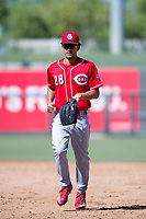 Cincinnati Reds outfielder Nate Scantlin (28) jogs off the field between innings during an Instructional League game against the Kansas City Royals on October 2, 2017 at Surprise Stadium in Surprise, Arizona. (Zachary Lucy/Four Seam Images)
