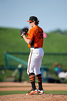 Frederick Keys starting pitcher Michael Baumann (36) gets ready to deliver a pitch during the first game of a doubleheader against the Lynchburg Hillcats on June 12, 2018 at Nymeo Field at Harry Grove Stadium in Frederick, Maryland.  Frederick defeated Lynchburg 2-1.  (Mike Janes/Four Seam Images)